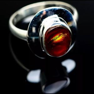 New Mexican Fire Agate . 925 Silver Ring Size 10